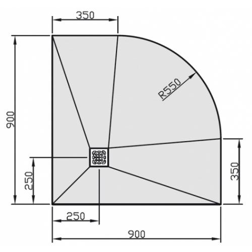 Receveur JACKOBOARD Aqua 1/4 cercle 90cm - Bonde Horizontale Jackon duschelement cote