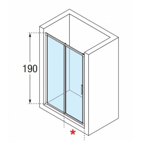 Porte de douche à 2 panneaux Lunes 2P 130cm Transparent Silver Lunes2p