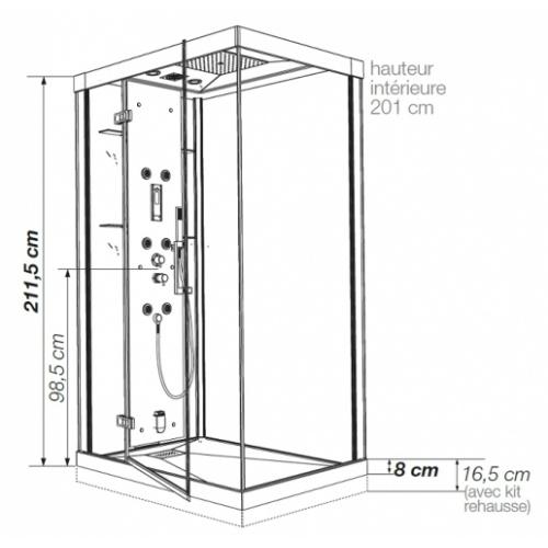 cabine de douche kineform hydro hammam 100x80. Black Bedroom Furniture Sets. Home Design Ideas
