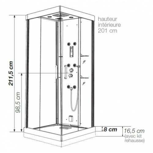 Cabine de douche Kineform Hydro+Hammam Carré 90 cm - Perle Noire Kineformc cote