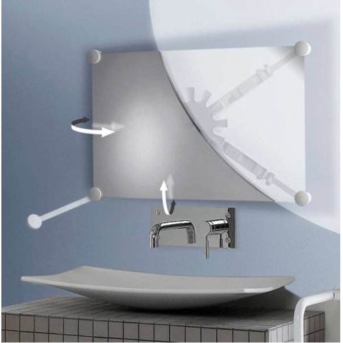 Support miroir orientable multidirectionnel Blanc