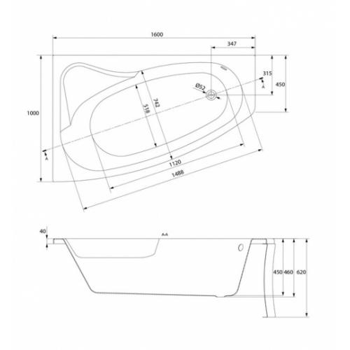 Baignoire asymétrique gauche 160x100 Sicilia sans tablier Sicilia gauche schéma