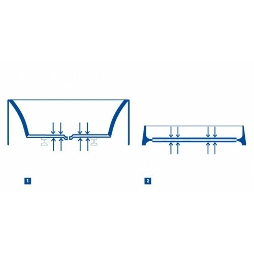 Baignoire rectangulaire 160x75 Intro sans tablier Double renfot