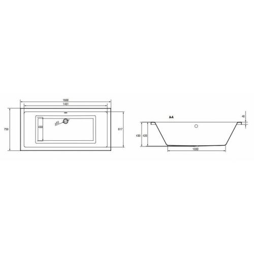 Baignoire rectangulaire 160x75 Intro sans tablier Cote s301 067