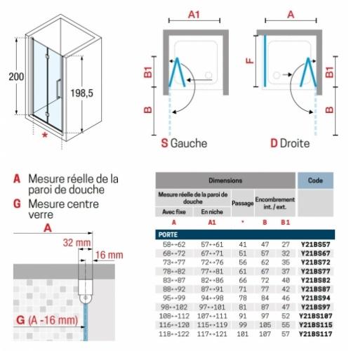 Porte pivotante et pliante YOUNG 1BS 60 cm - Transparent - Silver -Droite YOUNG 1BS - Schéma