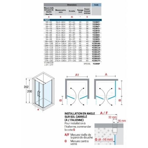 Porte à 2 panneaux battants Young 2.0 2B 60cm Transparent Silver YOUNG 2B - Schéma