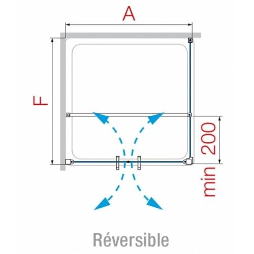Porte à 2 panneaux battants Young 2.0 2B 60cm Transparent Silver 0 2b schéma2