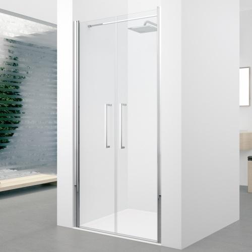 Porte à 2 panneaux battants Young 2.0 2B 60cm Transparent Silver