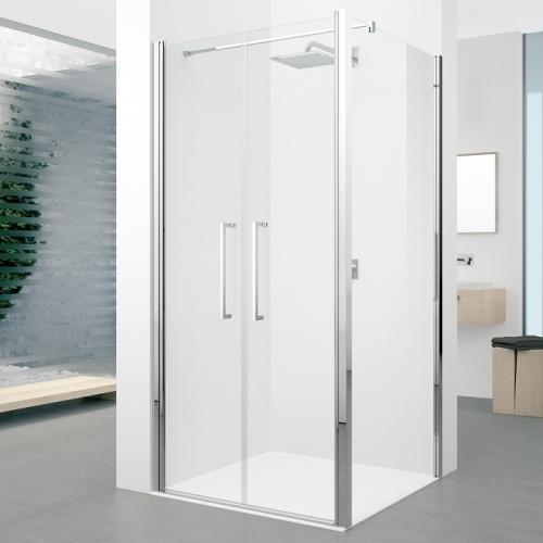 Porte à 2 panneaux battants Young 2.0 2B 60cm Transparent Silver 0 2b+f2b zoom