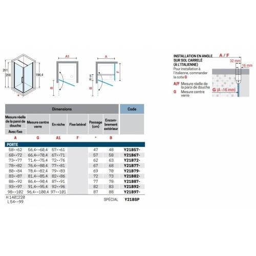 Porte pivotante Young 2.0 1B 60cm Transparent Silver YOUNG 2.0 1B Schéma