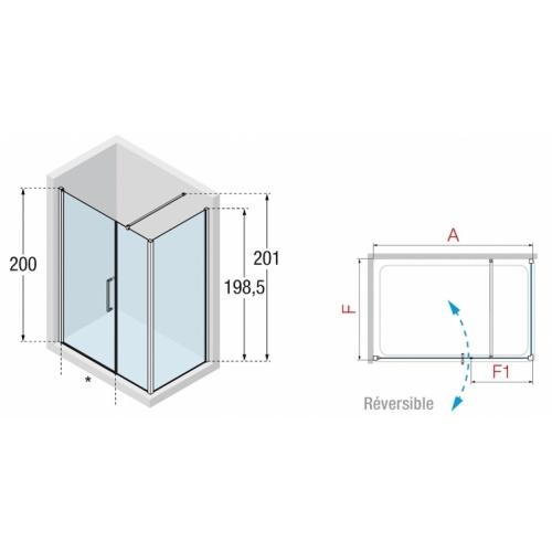 Porte pivotante + fixe en alignement Young 2.0 G+F 100cm Transparent Silver 0 g+f schéma 2