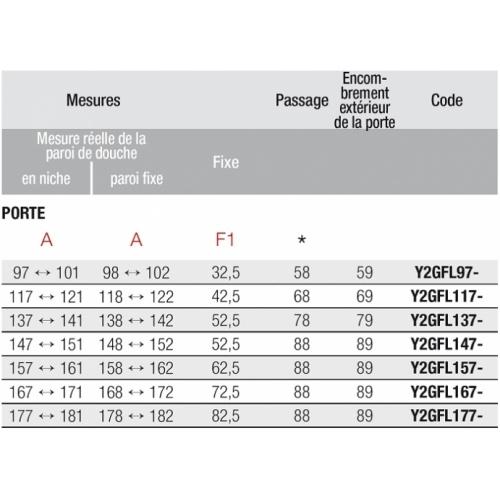Porte pivotante + fixe en alignement Young 2.0 G+F 100cm Transparent Silver 0 g+f schéma