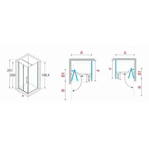 Paroi d'angle Young 2.0 GS+F gauche 80x80cm Transparent Silver 0 2gs+f schéma