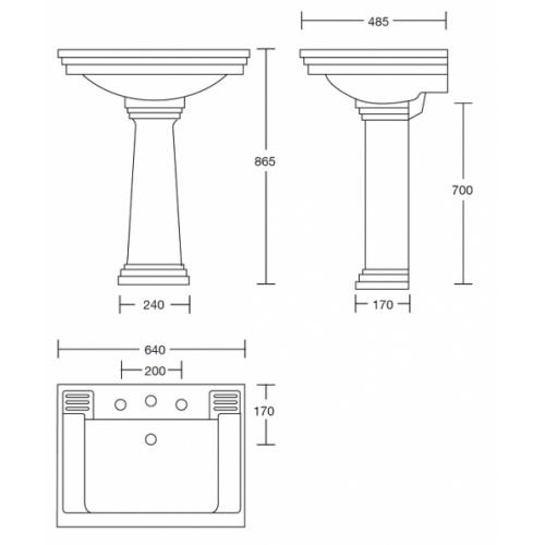 Lavabo 3 trous + colonne rétro céramique noire Ascott 68205 cote