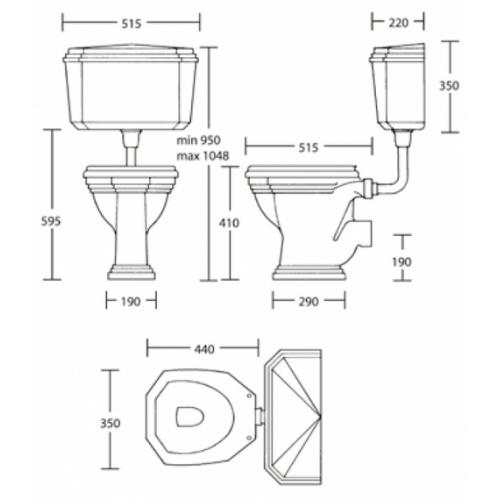 Cuvette WC noir avec réservoir mi-haut rétro Ascott sortie horizontale 68740 cote