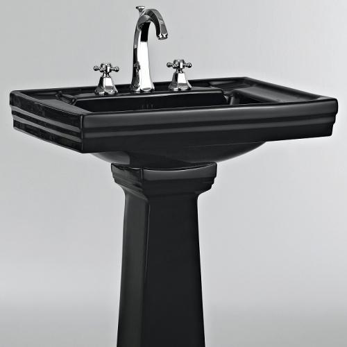 Lavabo 3 trous + colonne rétro céramique noire Ascott Ascott ceramique noir lavabo 68205+colonne 68208 + robinet 62261 chrome zoom