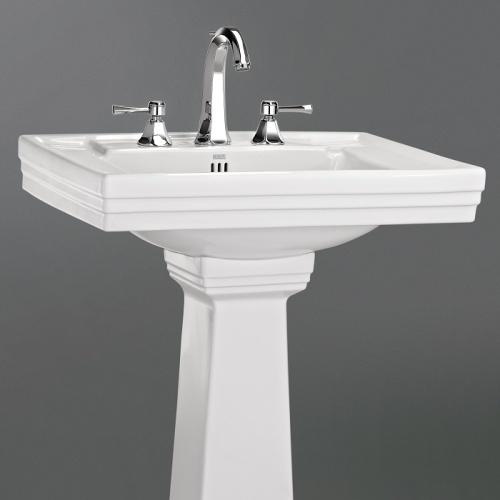 Mélangeur lavabo 3 trous Ascott chromé - 65.261 CH Ascott ceramique lavabo 68205 + colonne 68208 zoom