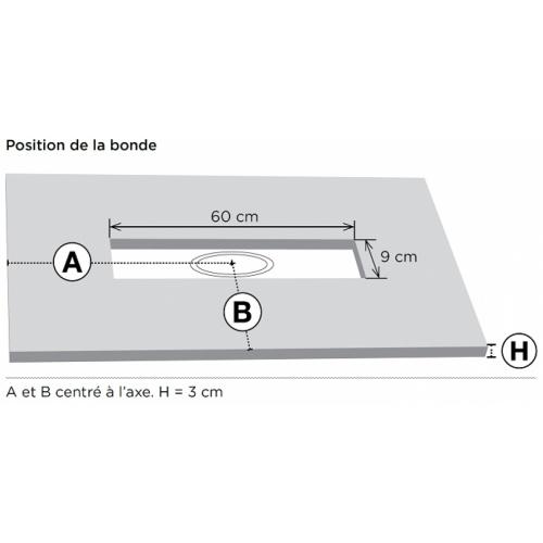 Receveur de douche 70x100 Blanc écoulement linéaire Ardesia Position bonde 2