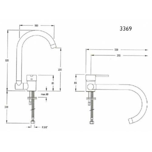 Mitigeur évier à bec orientable et escamotable Drako 3369 3369 schema