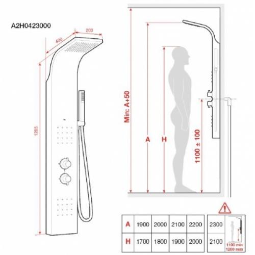 Colonne de douche avec Hydromassage Essential 2.0 Roca* Cote