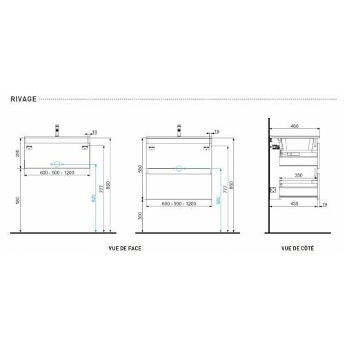 Meuble double vasque 4 tiroirs 120 cm RIVAGE Cristal Blanc Plans Techniques RIVAGE