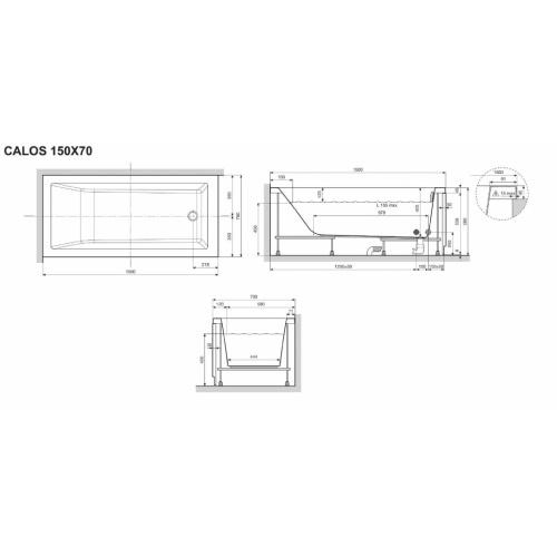 Baignoire CALOS 2.0 SANS tablier - 150x70cm CALOS 150x70 Schéma
