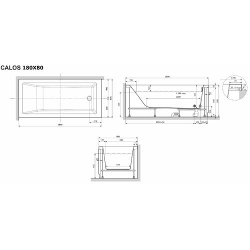 Baignoire CALOS 2.0 - 1 Tablier Frontal - 180x80cm CALOS 2.0 180x80 Schéma