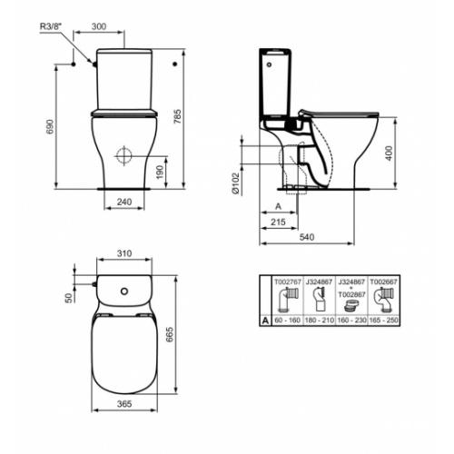Pack WC complet sans bride Tesi AquaBlade Cote pied