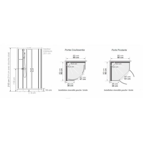 Cabine de douche EDEN R80 faible Hauteur - Porte pivotante - 80x80cm EDEN 1/4 Rond Schéma