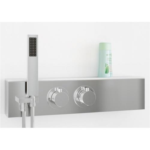 Cabine de douche EDEN+ C80 faible hauteur - Porte pivotante - 80x80cm Zoom robinetterie eden+