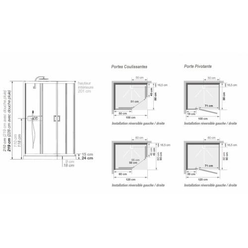 Cabine de douche EDEN+ faible hauteur - Portes coulissantes - 100x80cm EDEN + Rectangulaire Schéma