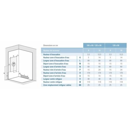 Cabine de douche EDEN+ faible hauteur - Portes coulissantes - 100x80cm Eden+ rect pivotante