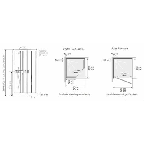 Cabine de douche EDEN+ C80 faible hauteur - Porte pivotante - 80x80cm EDEN+ C80-C90 Portes Coulissantes/Pivotante