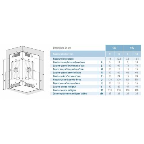 Cabine de douche EDEN+ C80 faible hauteur - Porte pivotante - 80x80cm EDEN+ C80-C90 Schéma Installation