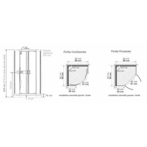 Cabine de douche EDEN+ R80 faible Hauteur - Portes pivotantes - 80x80cm Eden+ r coulissante