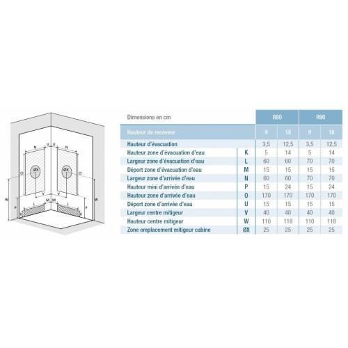 Cabine de douche EDEN+ R80 faible Hauteur - Portes pivotantes - 80x80cm EDEN + R80-R90 Installation