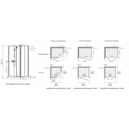 Cabine de douche Kineprime Glass faible hauteur - Coulissante - 70 x 70 cm - Mécanique KINEPRIME Glass 9 cm Schéma