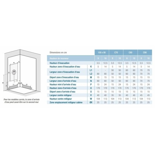 Cabine de douche Kineprime Glass faible hauteur - Coulissante - 70 x 70 cm - Mécanique KINEPRIME Glass Installation