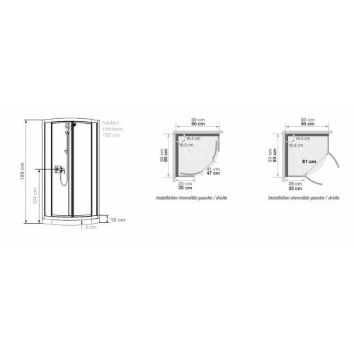 Cabine de douche Kineprime Glass faible hauteur - Coulissante - 1/4 de Rond 80cm KINEPRIME Glass 9 cm 1-4 Rond Schema