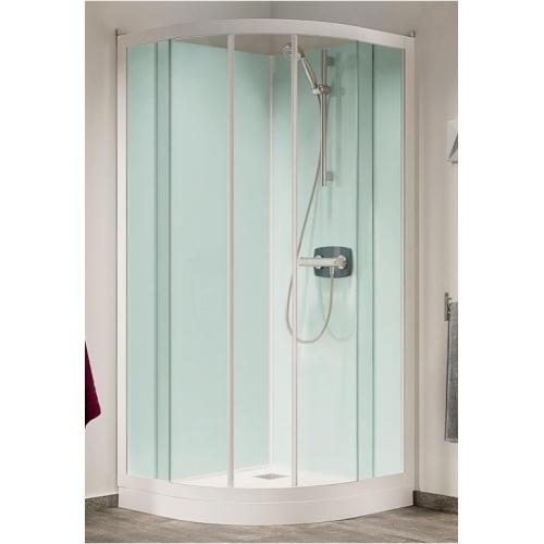 Cabine de douche Kineprime Glass faible hauteur - Coulissante - 1/4 de Rond 80cm