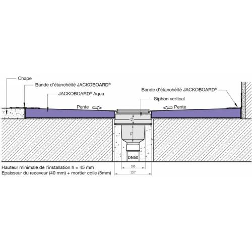 Receveur JACKOBOARD Aqua Décentré 90X90 SV* Bonde verticale