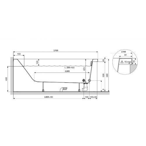 Baignoire rectangulaire CALOS 170x75 sans tablier* Calos stock 170x75 côte 2