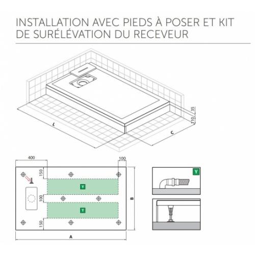 Receveur Extraplat NOVOSOLID Blanc Mat 80x80 cm Novosolid Installation avec Pieds