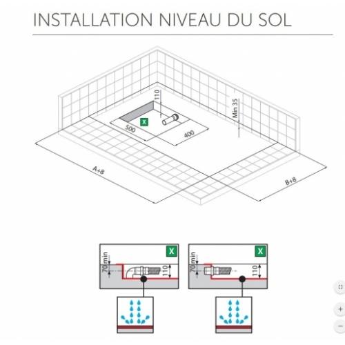 Receveur Extraplat NOVOSOLID Blanc Mat 80x80 cm Installation au niveau du sol NOVOSOLID