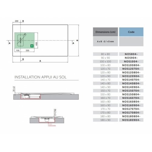 Receveur Extraplat NOVOSOLID Blanc Mat 80x80 cm Schéma Technique NOVOSOLID