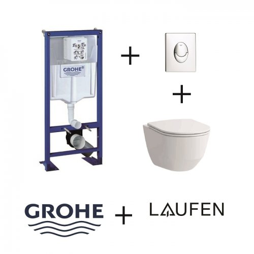 Pack WC Grohe Rapid SL + Cuvette Rimless Laufen Pro + Plaque Chromée Pack wc grohé+rimless+chr