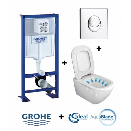 Pack WC Grohe Rapid SL + Cuvette Tesi AquaBlade Ideal Standard + Plaque Chromée Rapid sl + cuvette tesi + plaque skate air chrome