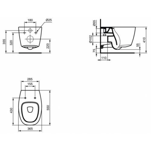 Cuvette suspendue Dea Aquablade Blanc Mat de Ideal Standard Cuvette dea aquablade côtes