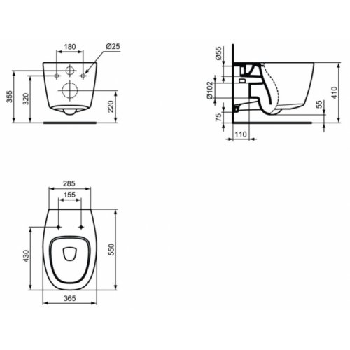 Cuvette suspendue sans bride DEA AquaBlade Blanc Mat Cuvette dea aquablade côtes