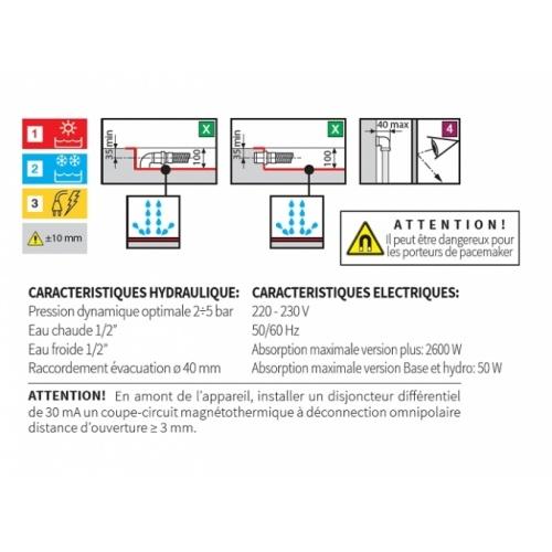 Cabine Eon A80 Standard coulissante Receveur Extra plat Eon schéma pose evacuation extra plat